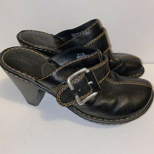 Born black leather heeled slip on clogs Mules sz 8
